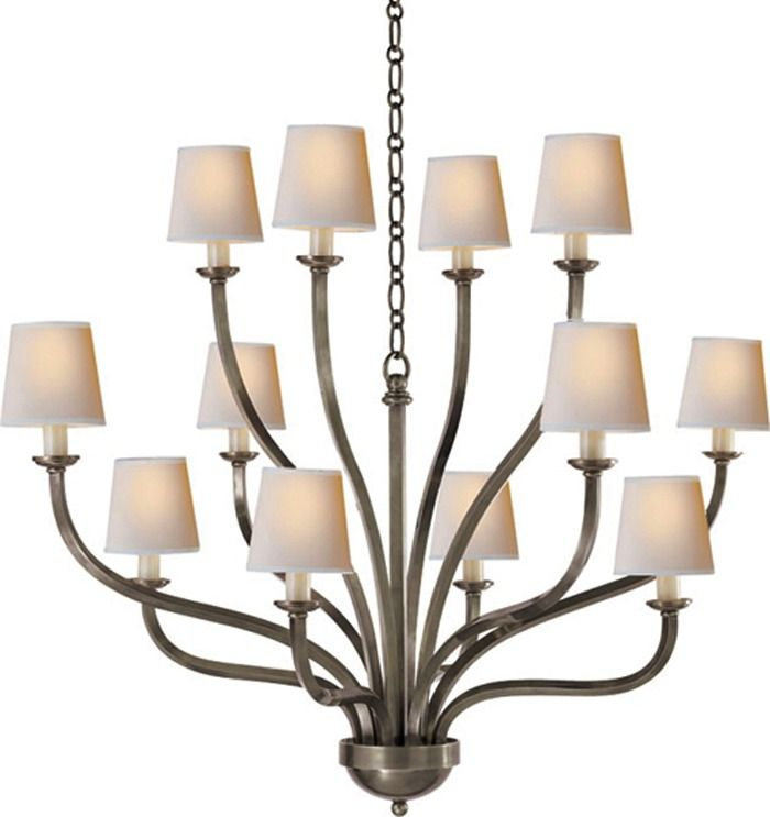 Chart House 12 Arm Normandy Chandelier In Antique Nickel By