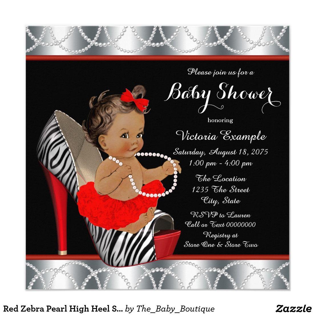 Red Zebra Pearl High Heel Shoe Ethnic Baby Shower Card   Shower ...