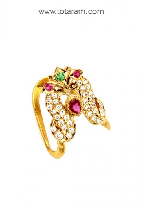 22K Gold Vanki Ring With Cz Color Stones Totaram Jewelers Buy