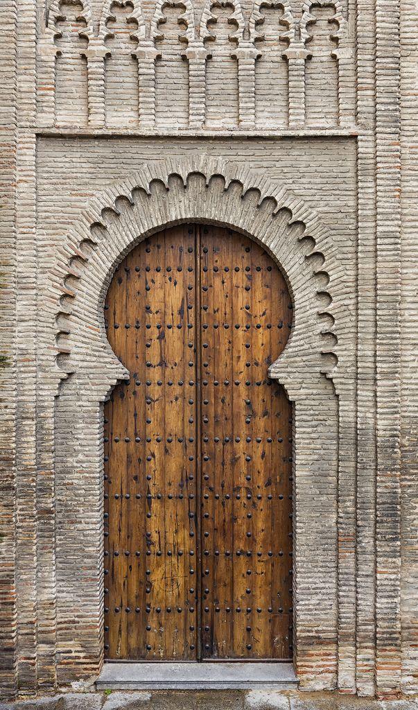 Beautiful wood medieval temple door.