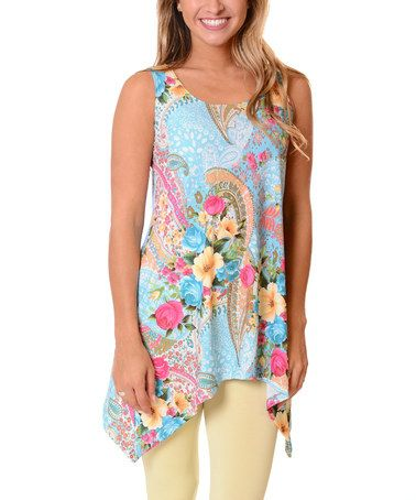 This Blue Floral Sidetail Tank is perfect! #zulilyfinds