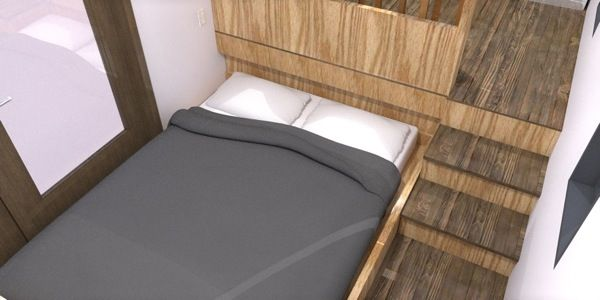 Tiny House Design With Slide Out Bed Underneath Kitchen Instead Of Overhead Loft