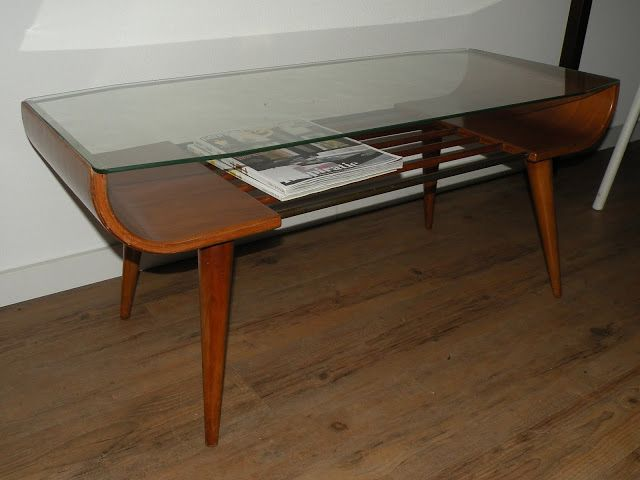 Retro 50s Coffee Table Glass Wood And A Mag Shelf Perfect