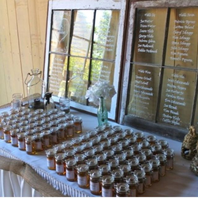 Wedding seating chart and favor table display ideas for Wedding table favours