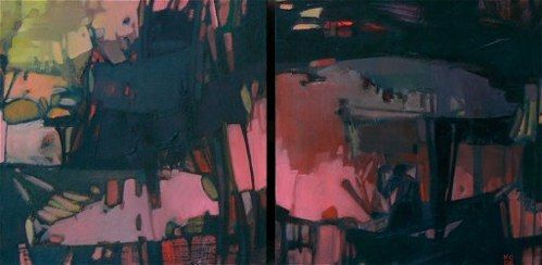 """Double Evening oil on two panels, 8 x 16""""Water Street Gallery, MI"""
