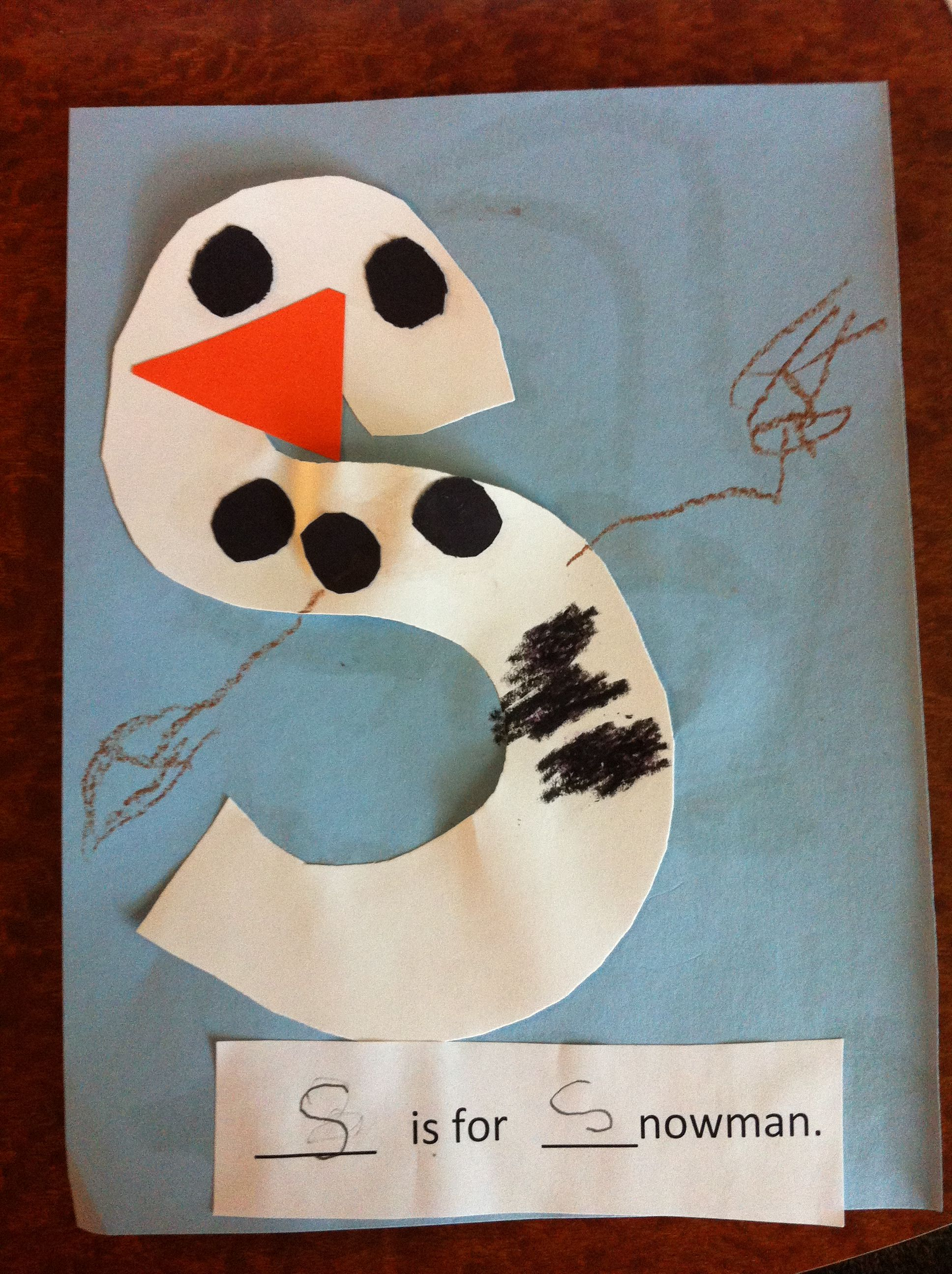 S Is For Snowman Letter S Pre K Craft