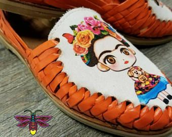 d04d3375e30eb Frida Kahlo Women's Orange leather sandals. Mexican huarache sandals ...