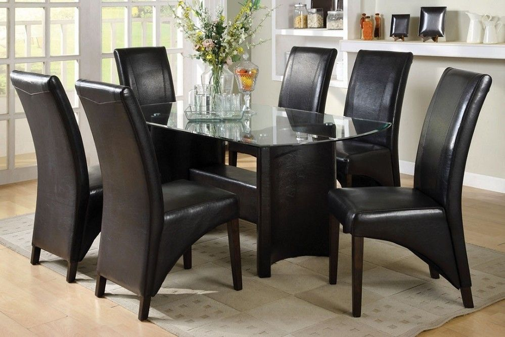 Manhattan 7Pc Glass Top Dining Set Half Moon Shape Pedestal Black New Dining Room Tables With Glass Tops Inspiration