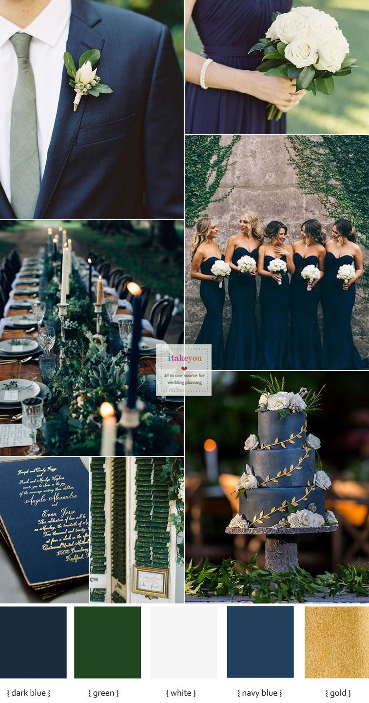 Green Navy Blue and White Wedding Colour Ideas , Wedding Color palette