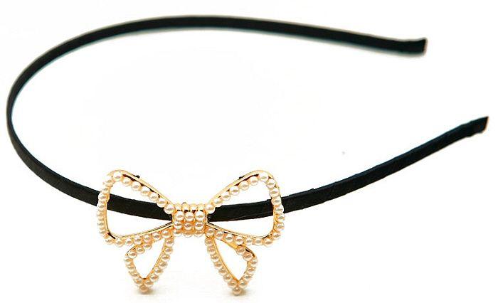 Pearl Bow Headband-Goldtone - Savvyconch