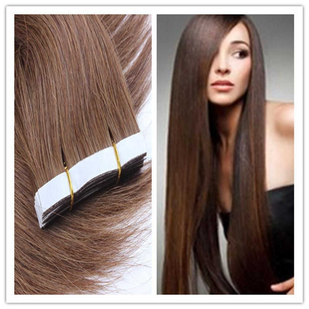 18 Inches Chestnut Brown 20pcs Real Straight Tape In Human Hair