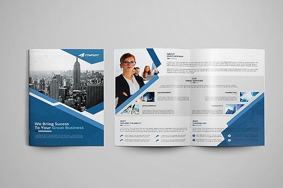 Corporate Bi-fold Brochure by GreenPixi on @creativemarket Group