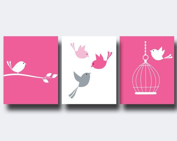 Nursery Bird Art Print, Baby Girl Wall Art Prints Pink Birds and Cage Set, Girls Bedroom Decor - H176 -Custom Colour    Nursery Bird Art Print Baby Girl Wall Art Prints Pink by HopAndPop, $28.00 #Art #Baby #Bird #birds #Girl #Nursery #Pink #Print #prints #Wall