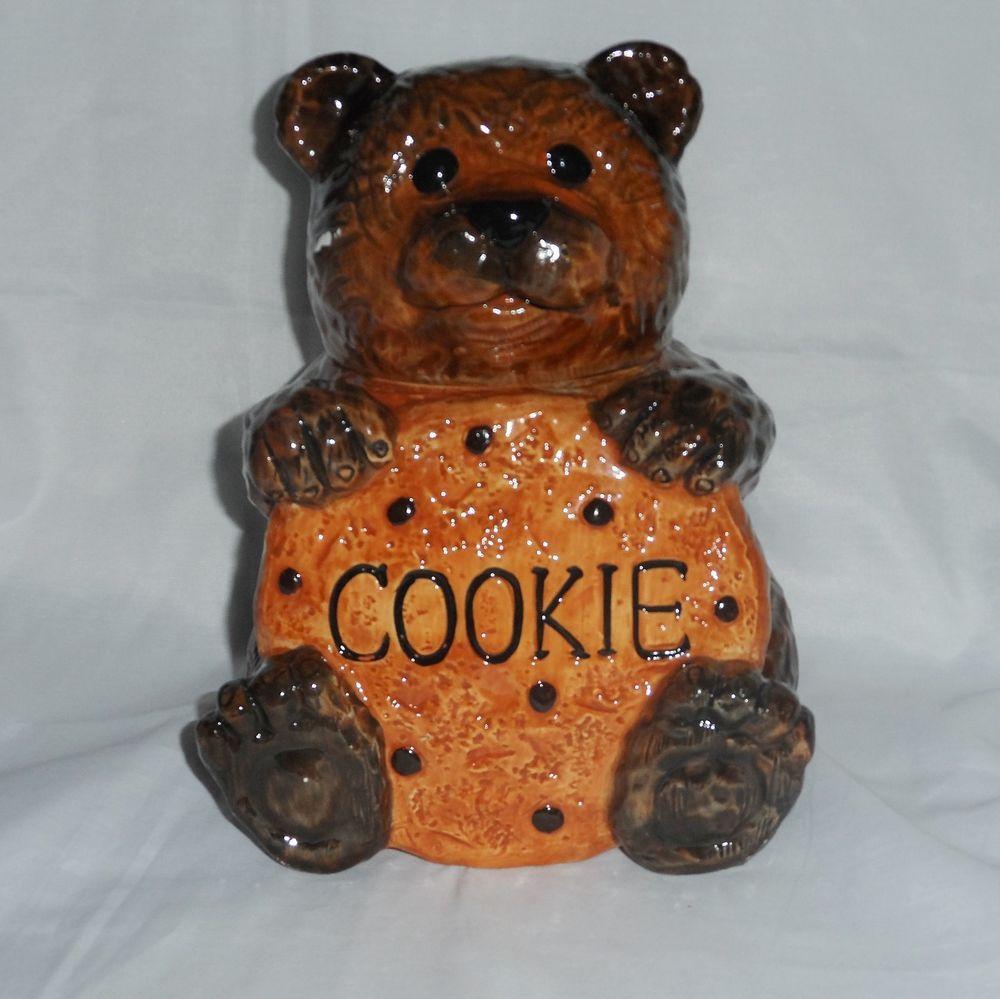 "Teddy Bear Cookie Jar holding Chocolate Chip Cookie By CKA 10"" Brown Bear #CKA"