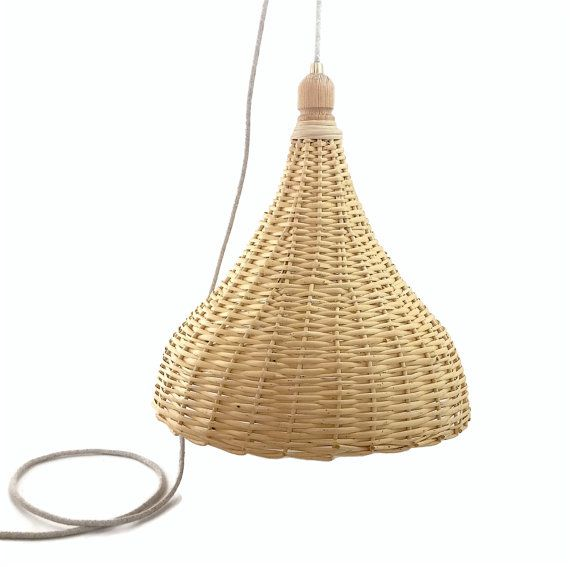 wicker pendant light. Handmade Natural Wicker Pendant Light. The Lampshade Is Hand \u2013 Knitted And It Made Of Chaste Tree Wood. Wooden Part On Top Lampshade, Light