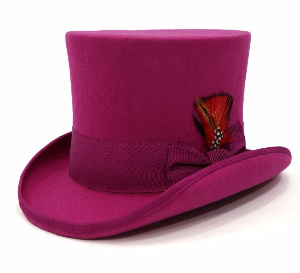 c99ef27b0731a9 Ferrecci Mens Fuchsia 100% Wool Victorian Madhatter Steampunk Reinforced  Top Hat #FERRECCI #TOPHAT