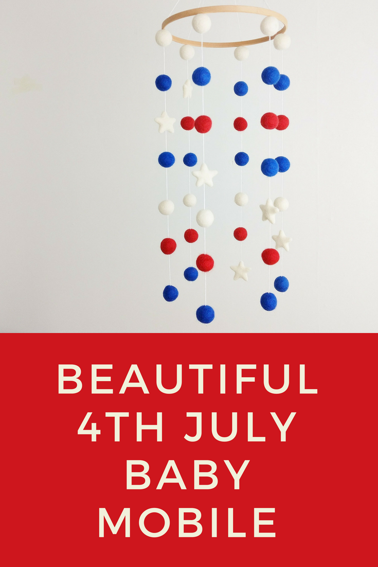 Red blue white baby mobile star mobile patriotic crib mobile love this baby mobile in patriotic colours perfect to celebrate the fourth in any bright fandeluxe Choice Image