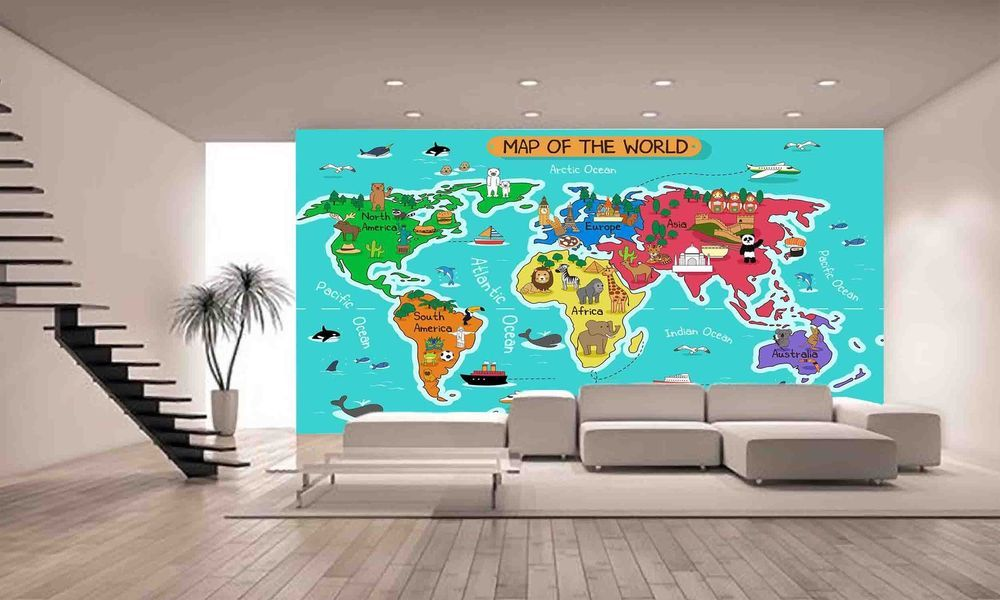 Map of the world wall mural photo wallpaper giant decor paper poster map of the world wall mural photo wallpaper giant decor paper poster free paste ebay gumiabroncs Images