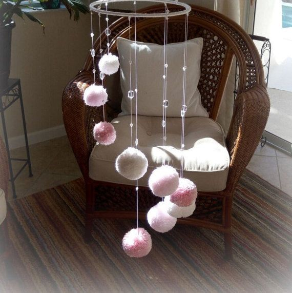 Items similar to pom pom mobile hanging blue pom baby mobile nursery decor on etsy
