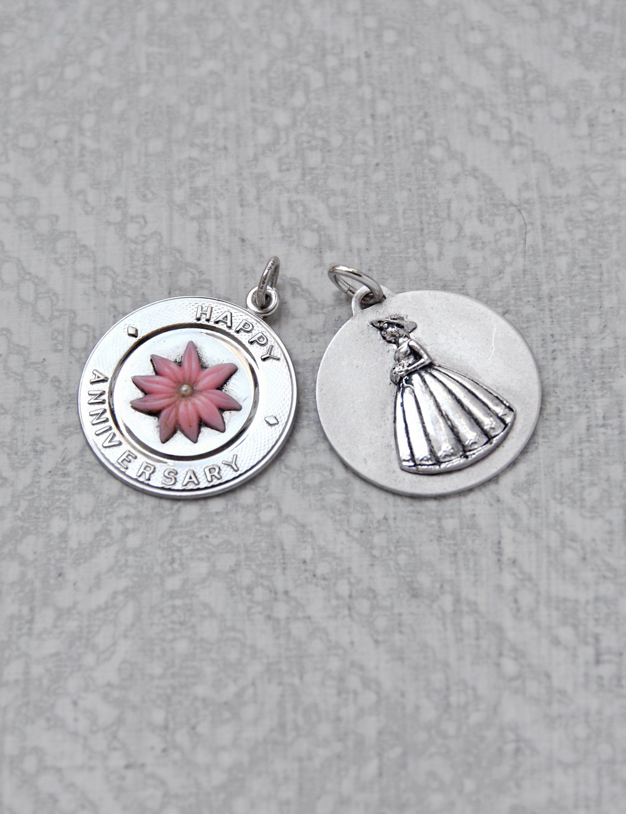 Sterling Silver Happy Anniversary Disc Charm