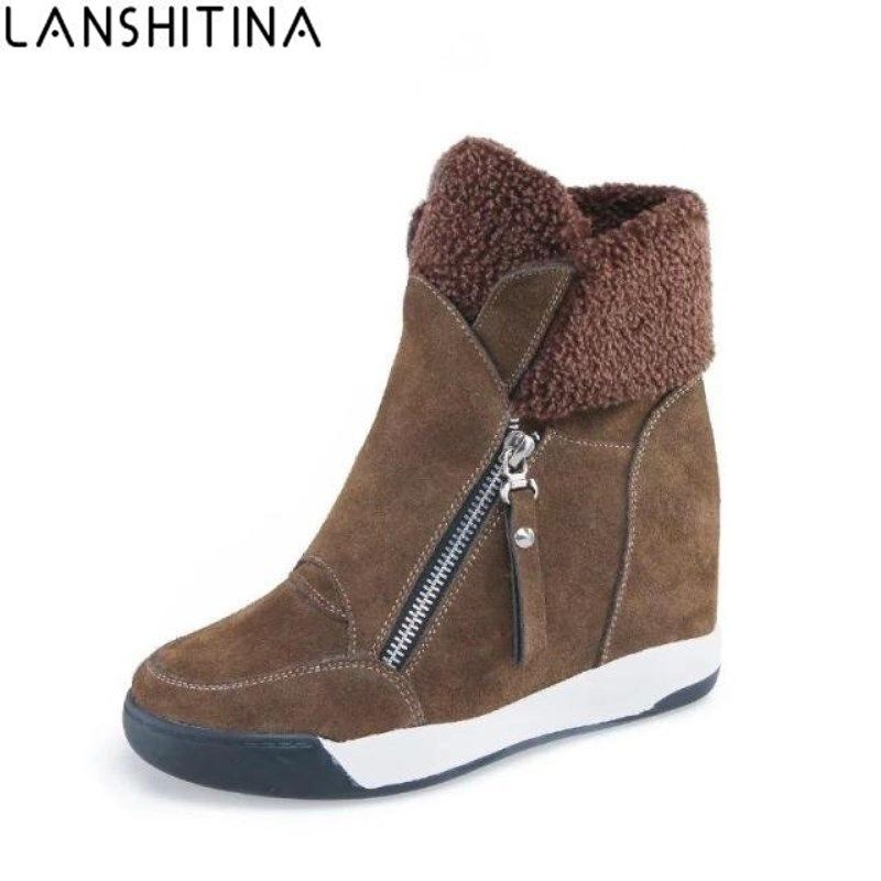 8869d06f57f8 Winter Shoes Cow Suede Women Hidden Heel Boots Woman Casual Shoes Wedges