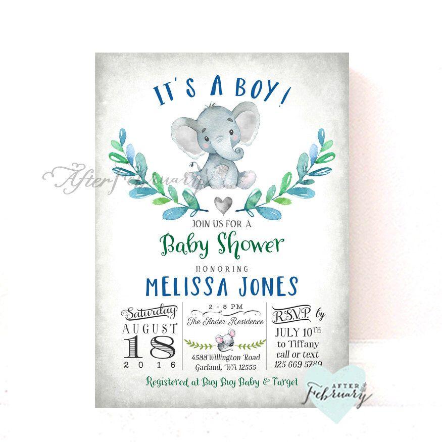 Elephant Baby Shower Invitation Boy Baby Shower Invitation Baby Boy ...