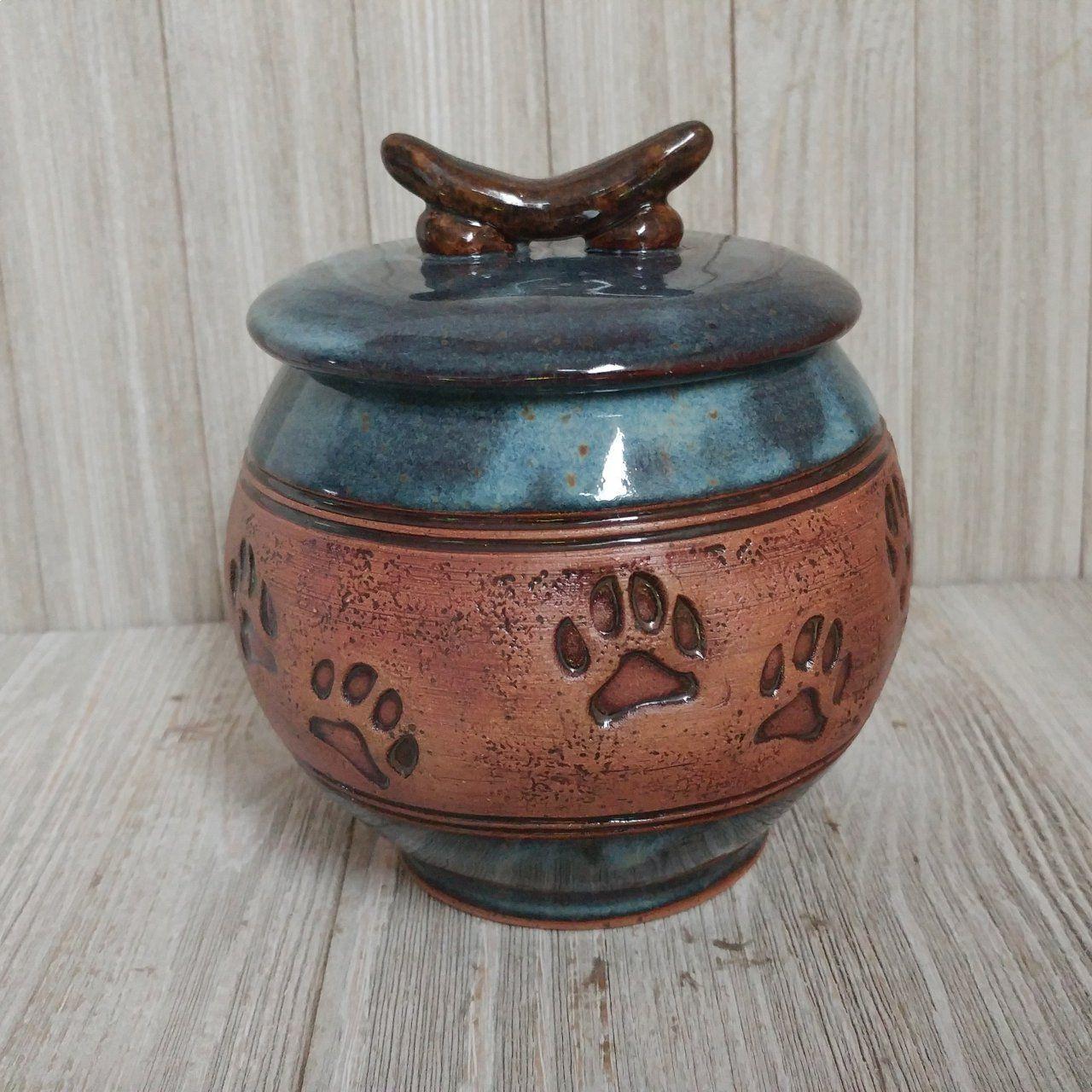 Blue Handmade Ceramic Pet Urn with Paw Prints (sold) Pet