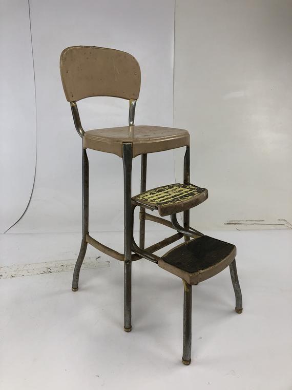 Awesome Vintage Cosco Step Stool Brown Metal Industrial Steampunk Inzonedesignstudio Interior Chair Design Inzonedesignstudiocom