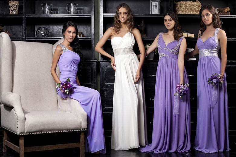 Vestidos para damas de honor color lila