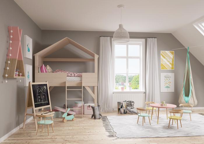 kinderzimmer skandinavisch einrichten runder tisch stühle, Schlafzimmer entwurf