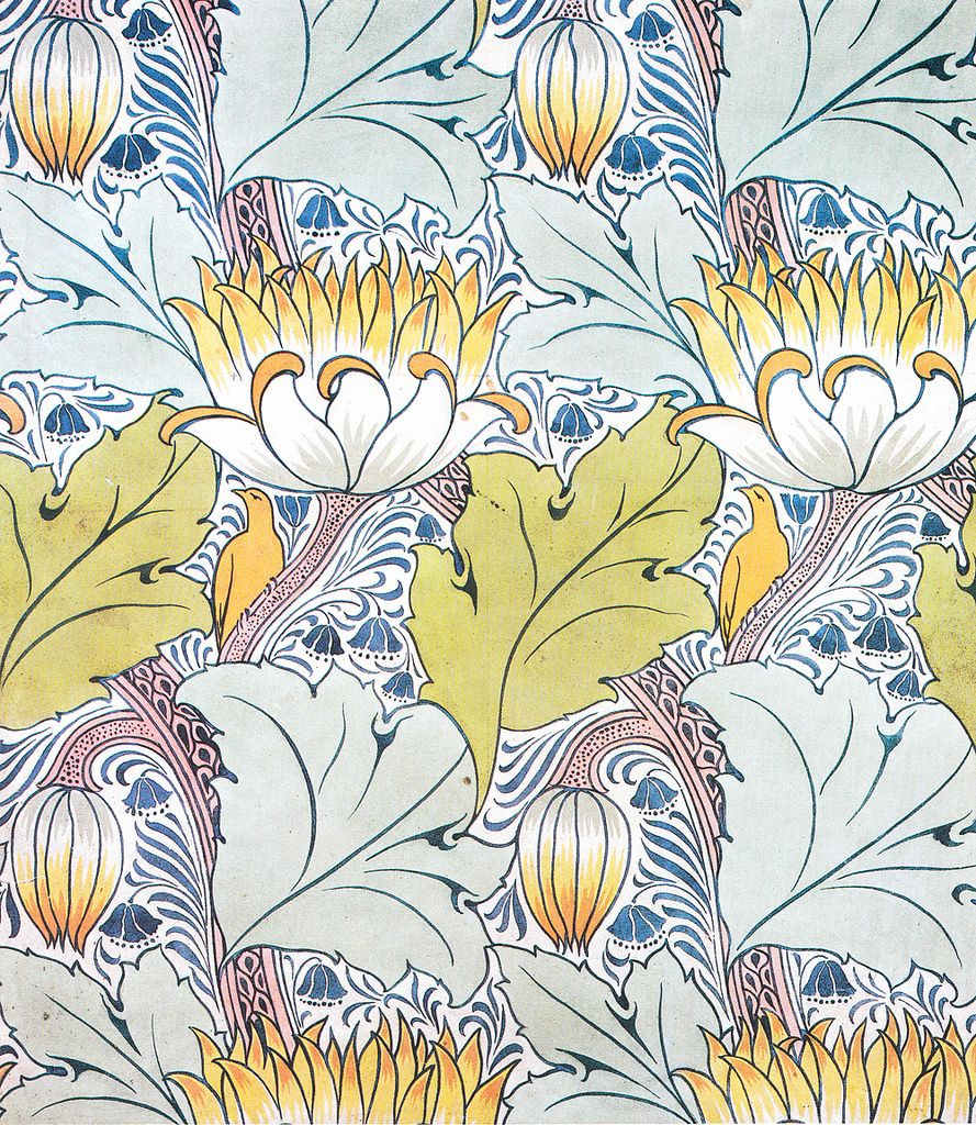 Voysey Passion Flowers Art Crafts Counted Cross Stitch Chart Pattern