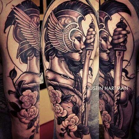 Female Warrior By Justin Hartman Warrior Tattoos Athena Tattoo Shield Tattoo