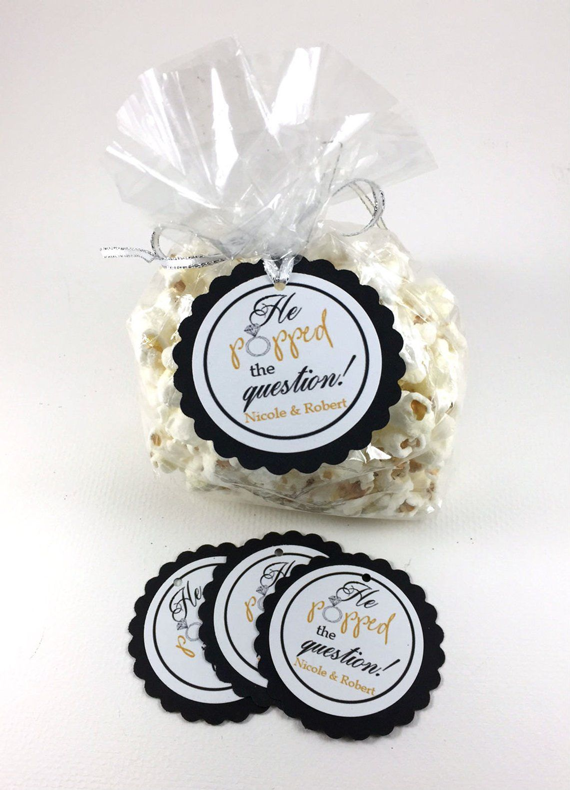 20 Engagement Party Tags, Engagement Party Hang Tags, Engagement Favors, Popcorn Engagement Favors, Engagement Party Favor, Candy Bag Tags