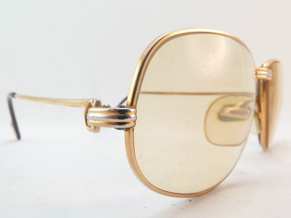 Vintage 24K gold filled eyeglasses frames Cartier Paris 52-18 135 sl ...