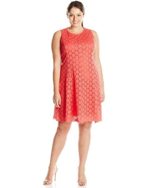 5109ae8683 7 Cheap Sundresses for Plus Size Girls You Will Love  Cute cheap orange  crochet plus size sundress by Tiana B (Shop style HERE)