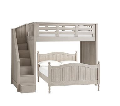 Catalina Twin Stair Loft And Full Bed Brushed Fog Wb Low