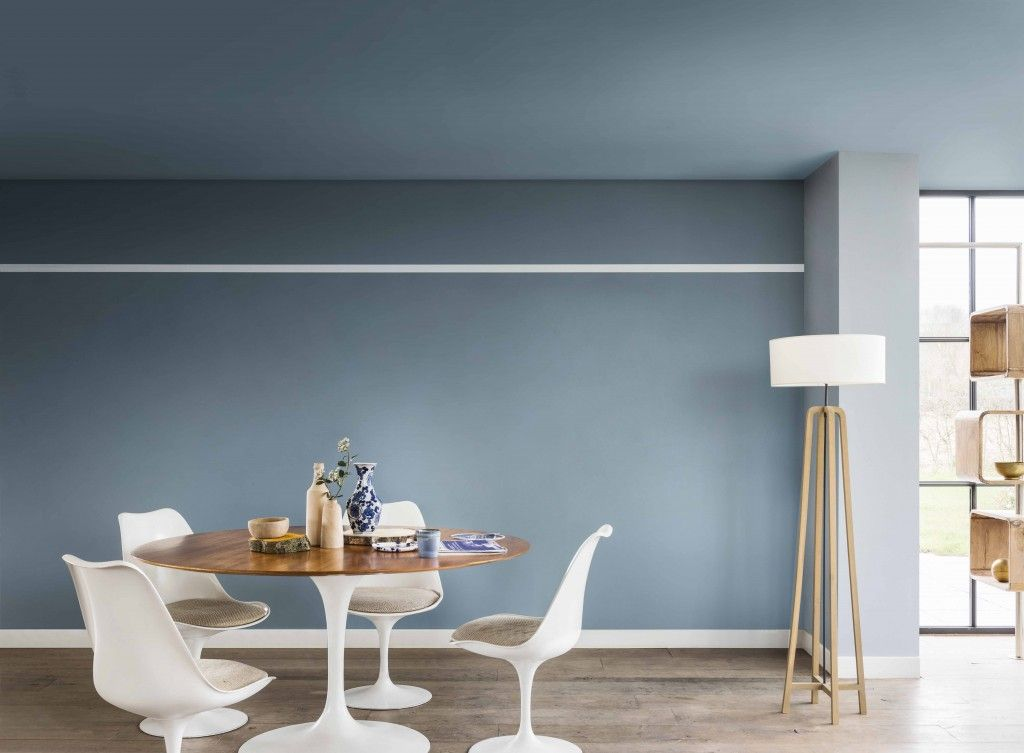 Contemporary Living And Dining Room Painted In Denim Drift Borrowed Blue Earl
