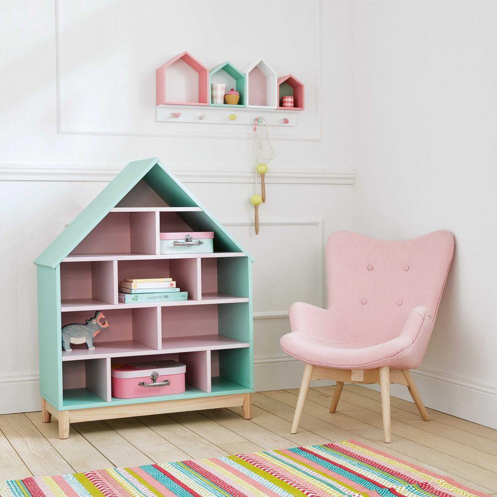 Bücherregal Haus Für Kinder, Grün Und Rosa
