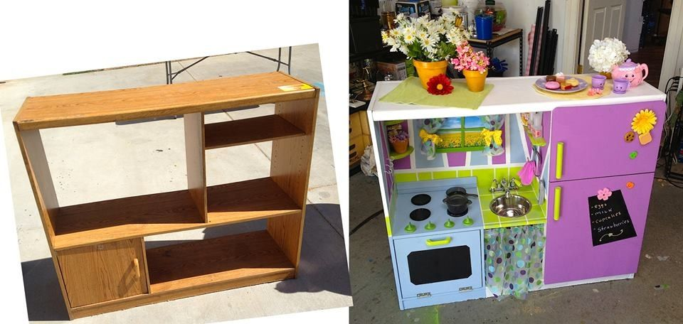 turn an old entertainment center into a kid 39 s play kitchen. Black Bedroom Furniture Sets. Home Design Ideas