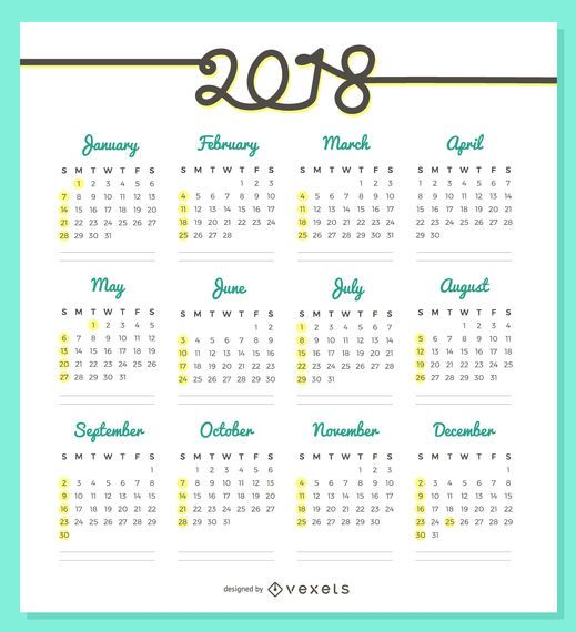 Every Year Calendar : Calendar design featuring a quick view of the year