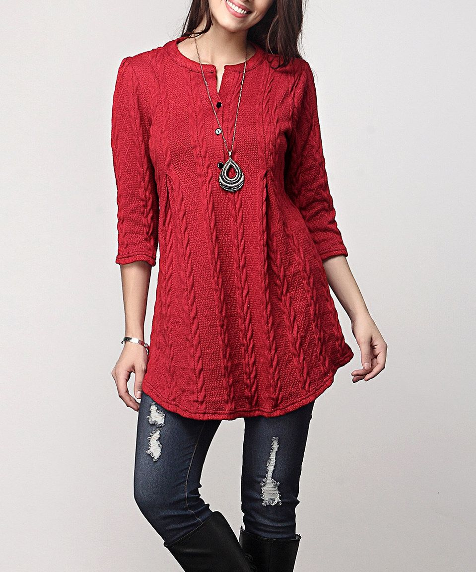 fd12ff1e8c0 Reborn Collection Red Cable-Knit Notch Neck Button-Front Tunic - Plus