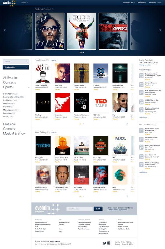 Eventim.de - Events Website on Behance