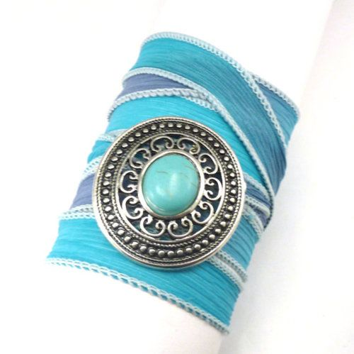 Southwestern Silk Wrap Bracelet with Turquoise Connector (via
