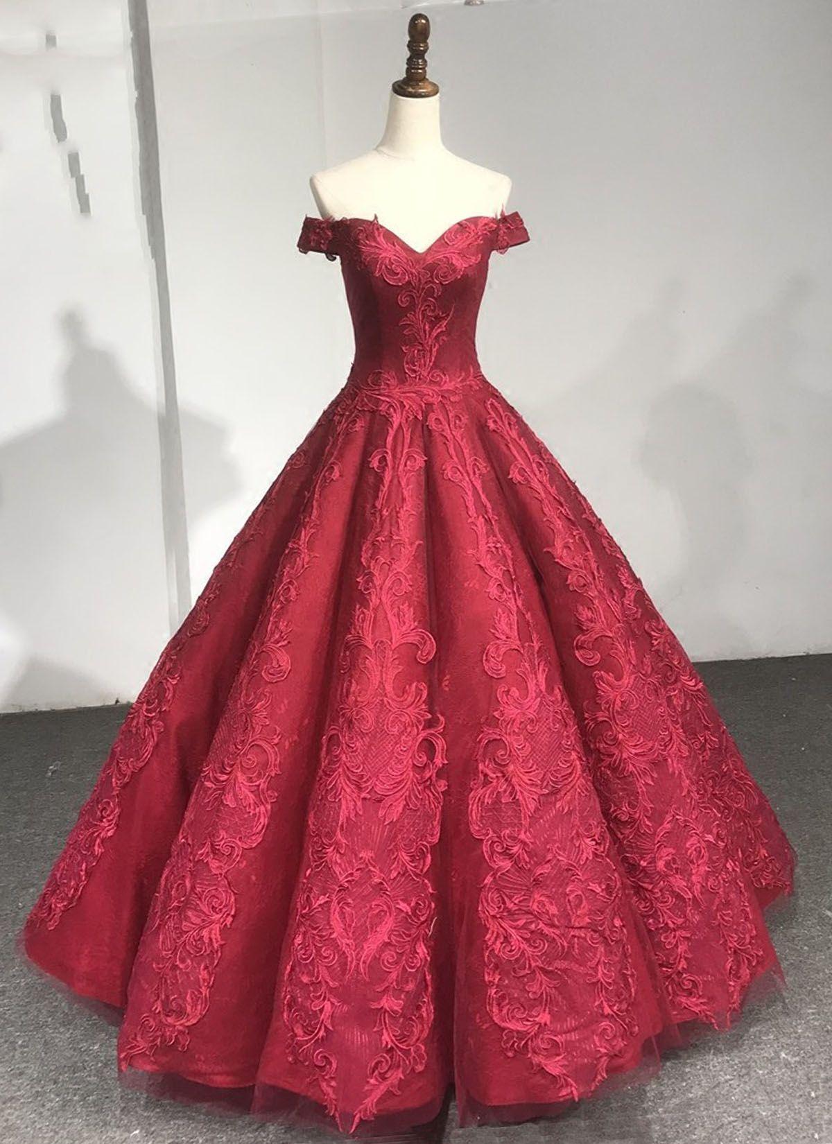 Burgundy prom dress lace prom dress off shouder prom dress prom
