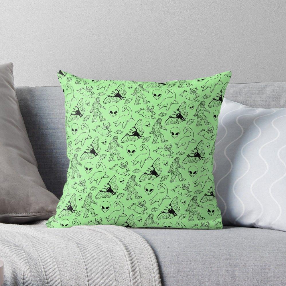 Cryptid Pattern Green Background Throw Pillow By Dianeleonardart Throw Pillows Printed Throw Pillows Pillows
