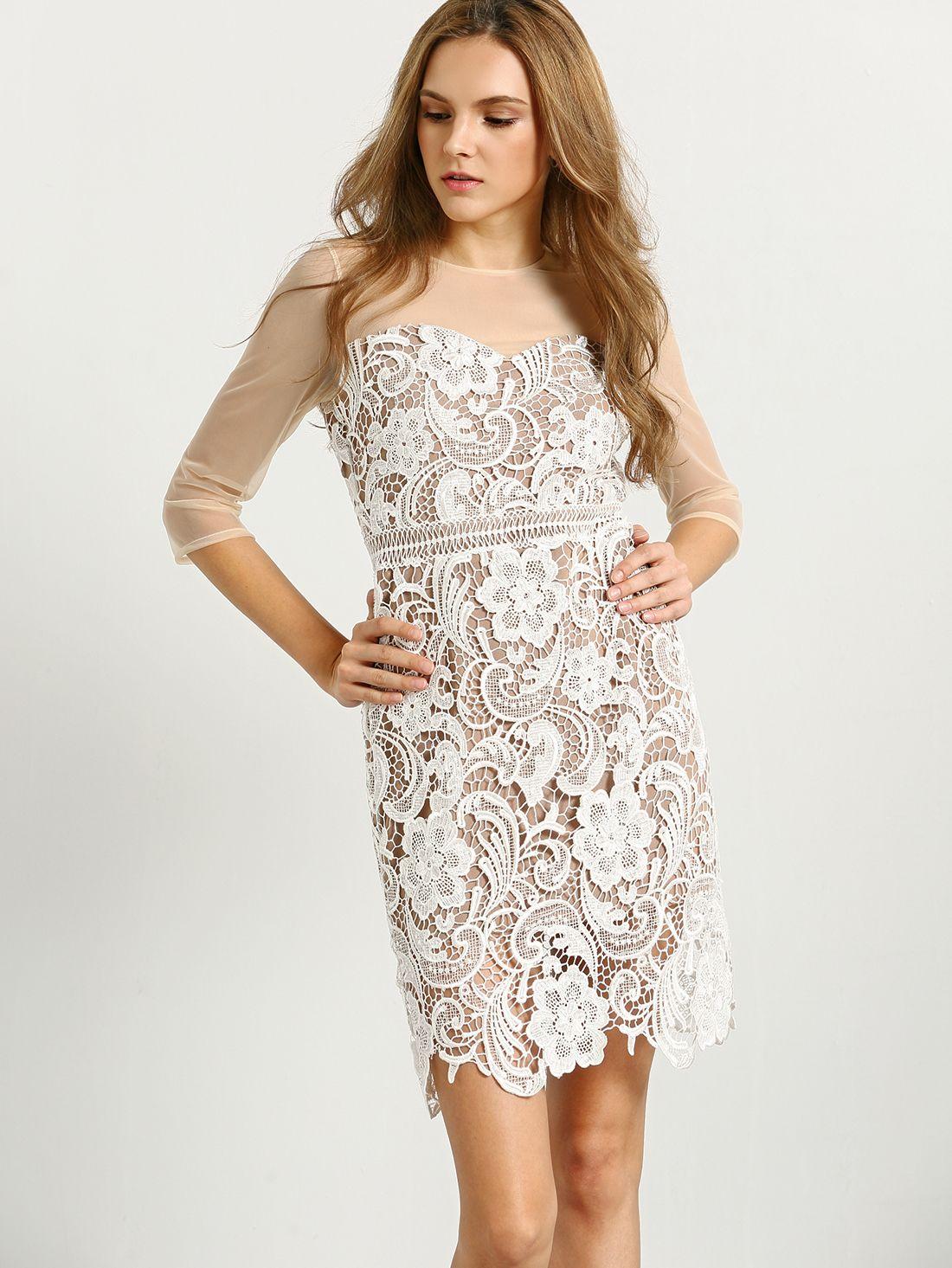 f00d06e60 Vestido malla transparente flores crochet encaje-(Sheinside ...