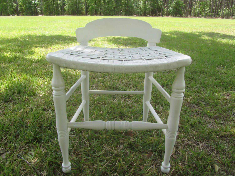 Great Antique Vanity Chair, Wicker Vanity Chair, Vanity Bench, Wood Chair,  Princess Chair