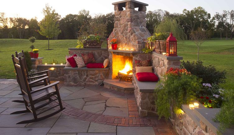 Stone Patios With Fireplaces Gasper Home Garden Showplace