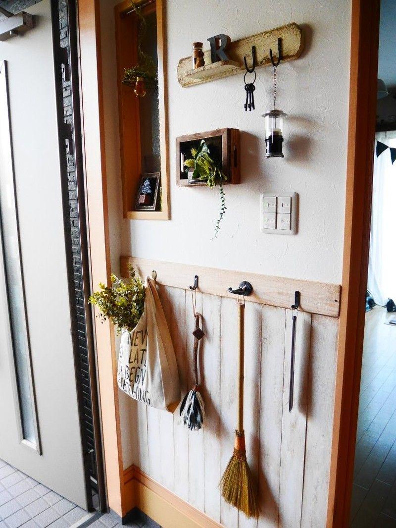 意外と簡単 玄関の壁にベニヤ板と杉板で腰壁をdiy インテリア
