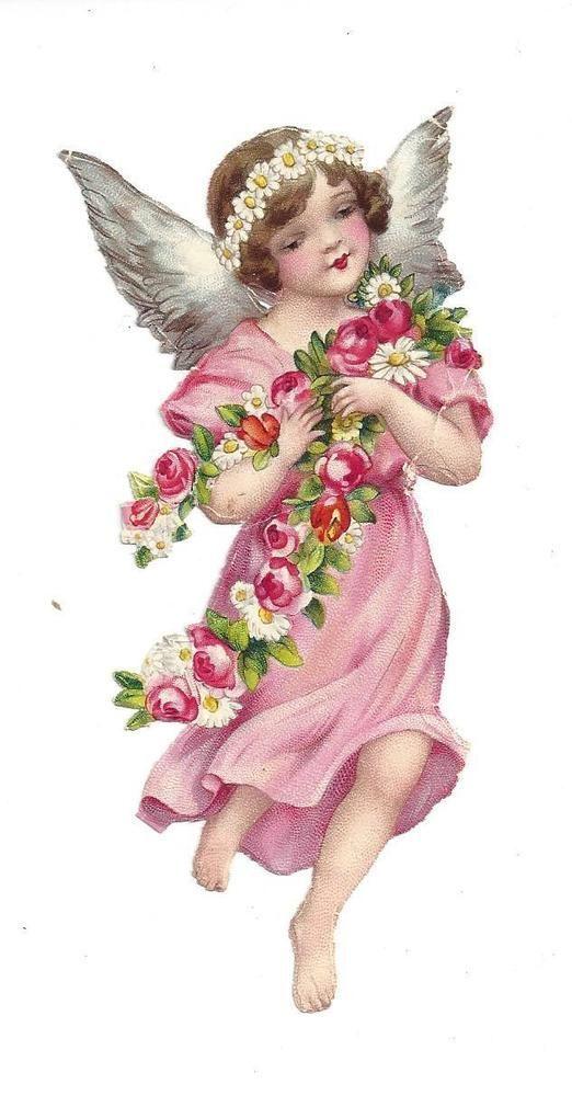alte glanzbilder oblaten scraps sch ner engel im rosa kleid 13 cm vintage obrazky pinterest. Black Bedroom Furniture Sets. Home Design Ideas